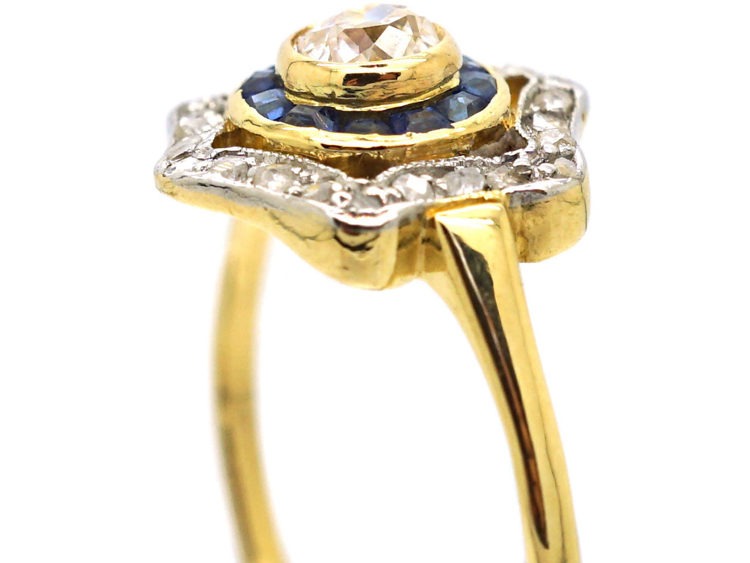 Art Deco 18ct Gold and Platinum, Sapphire and Diamond Target Ring