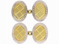 Art Deco 18ct Gold & Platinum Oval Shaped Cufflinks with Tartan Motif