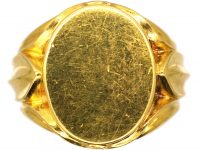 Victorian 18ct Gold Signet Ring with Ornate Triple Leaf Shoulders