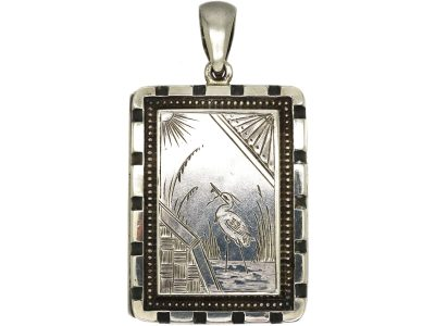 Victorian Silver Rectangular Shaped Locket with Aesthetic Period Detail