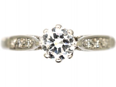 Art Deco 18ct White Gold Diamond Solitaire Ring with Diamond Set Shoulders