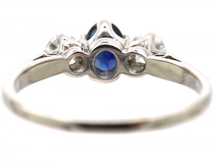 18ct White Gold, Sapphire & Diamond Three Stone Ring