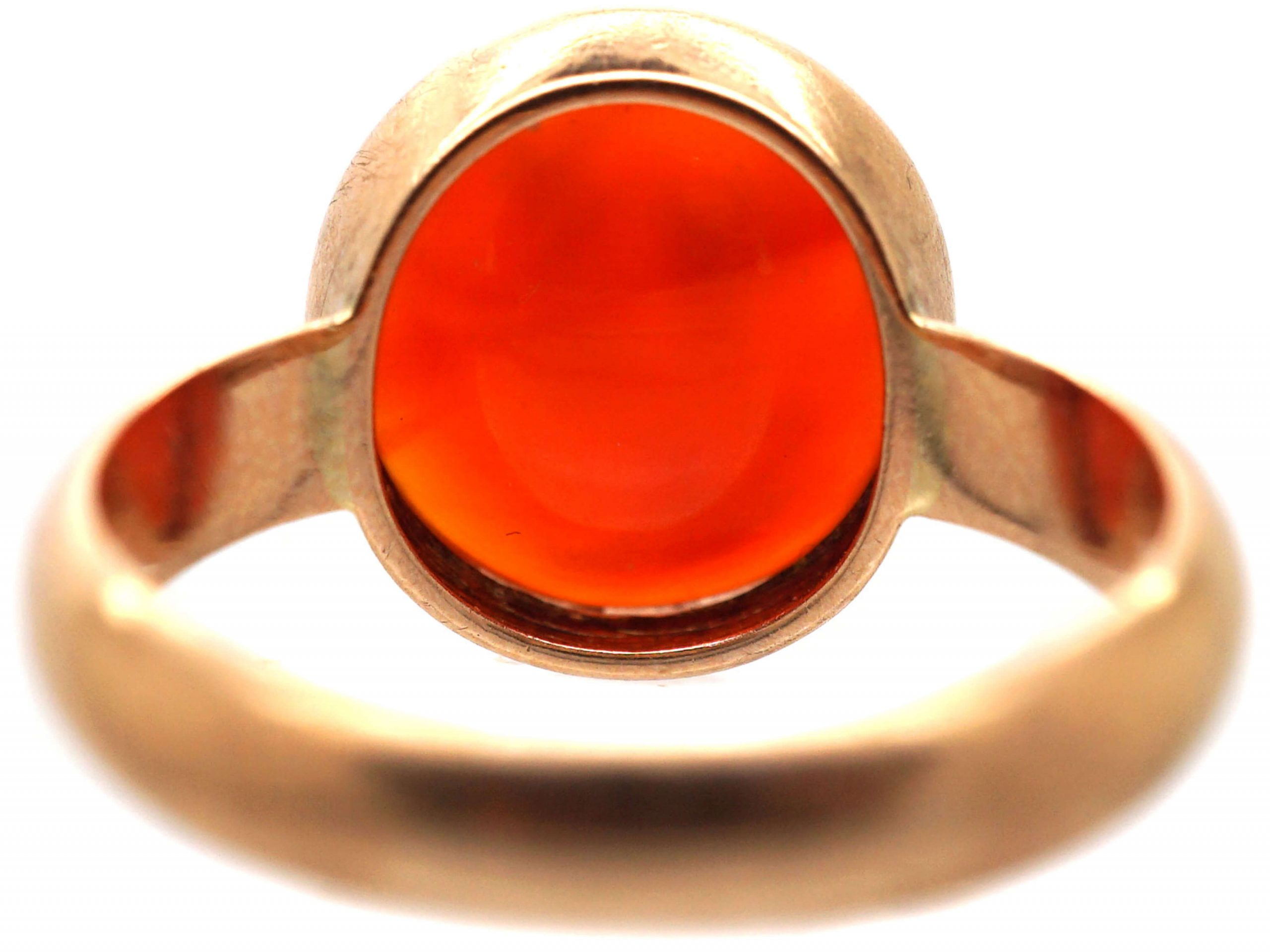 Edwardian 15ct Gold Carnelian Ring with Intaglio of Hellenistic Attic Helmeted Warrior