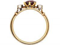 Edwardian 15ct Gold, Garnet & Diamond Three Stone Ring