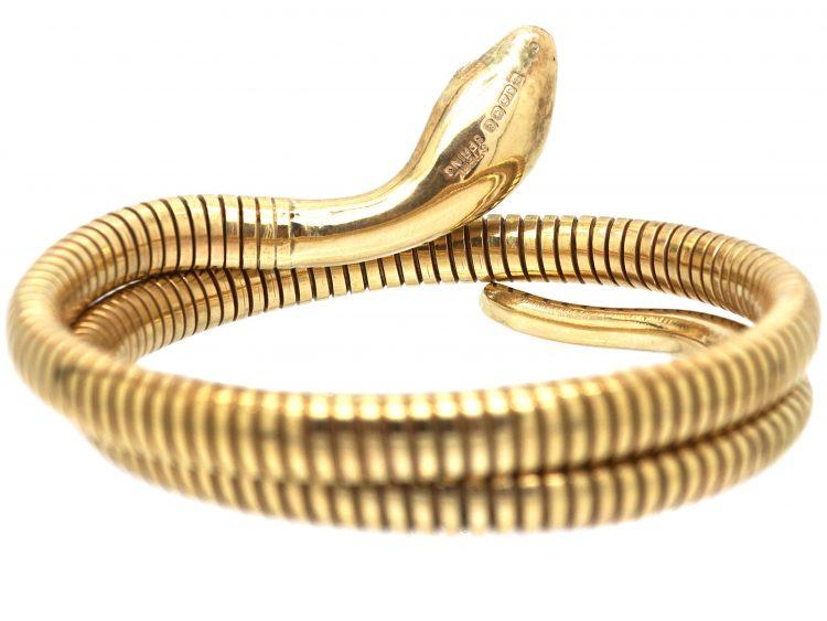 9ct Gold Snake Bangle with Emerald Eyes