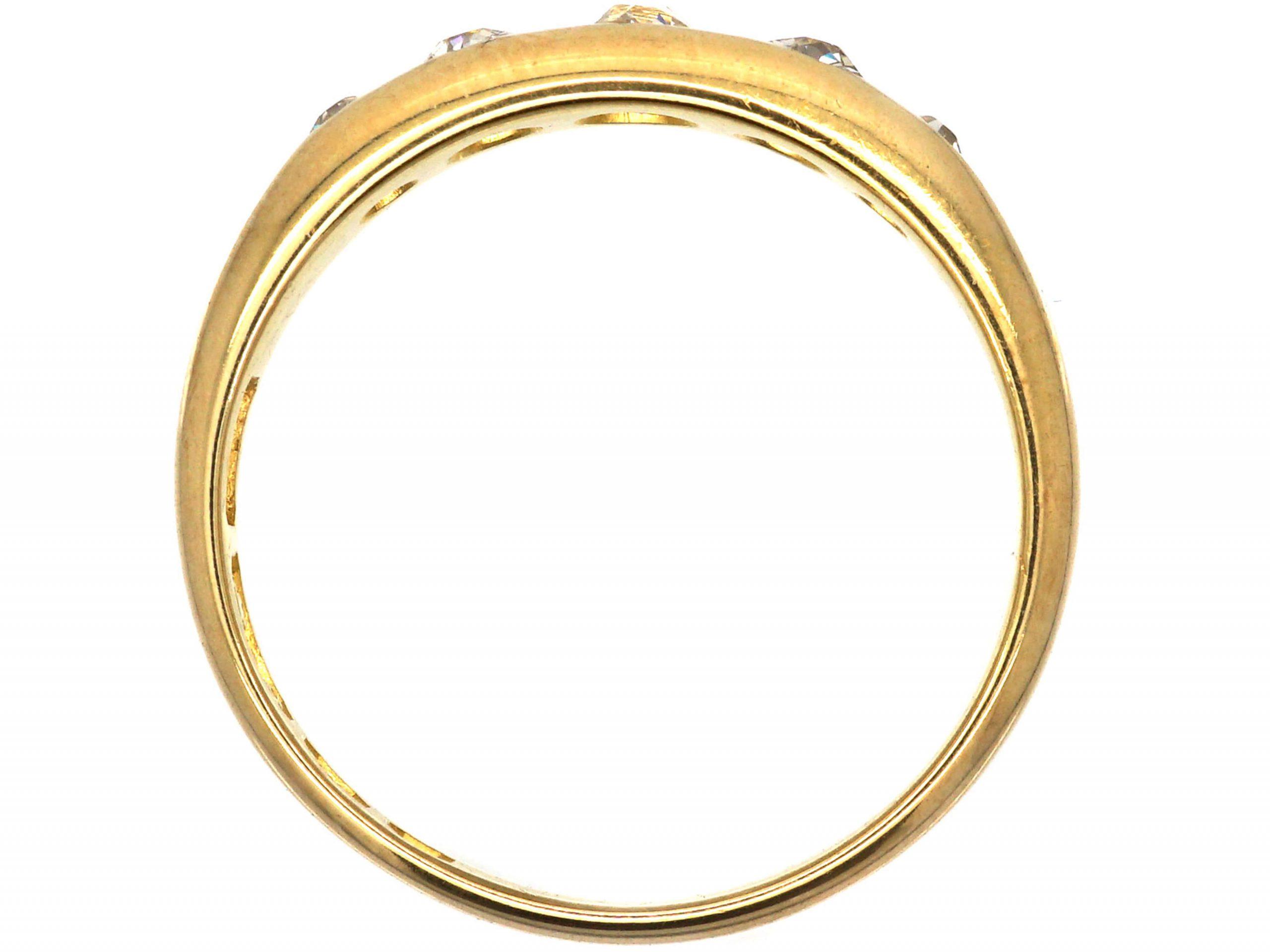 Victorian 18ct Gold, Five Stone Rub Over Set Diamond Ring