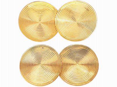 Art Deco 18ct Gold Round Record Cufflinks