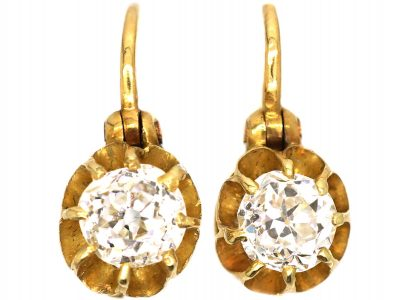 Edwardian 18ct Gold, Claw Set Old Mine Cut Diamond Solitaire Earrings