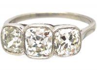 Art Deco Platinum, Large Three Stone Cushion Cut Diamond Ring