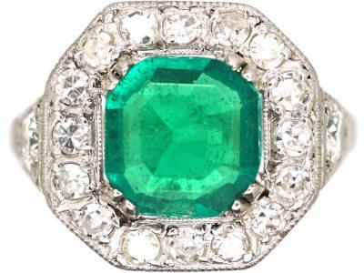 Art Deco 18ct White Gold, Columbian Emerald & Diamond Ring