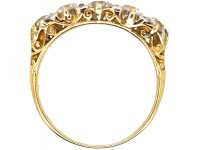 Victorian 18ct Gold Five Stone Diamond Carved Half Hoop Ring with Diamond Points