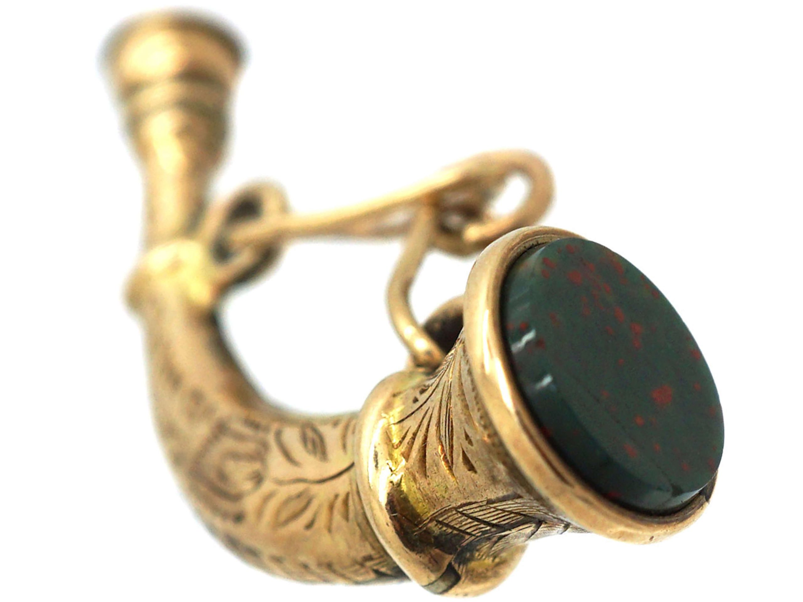 Victorian 9ct Gold Hunting Horn Seal set with Bloodstone