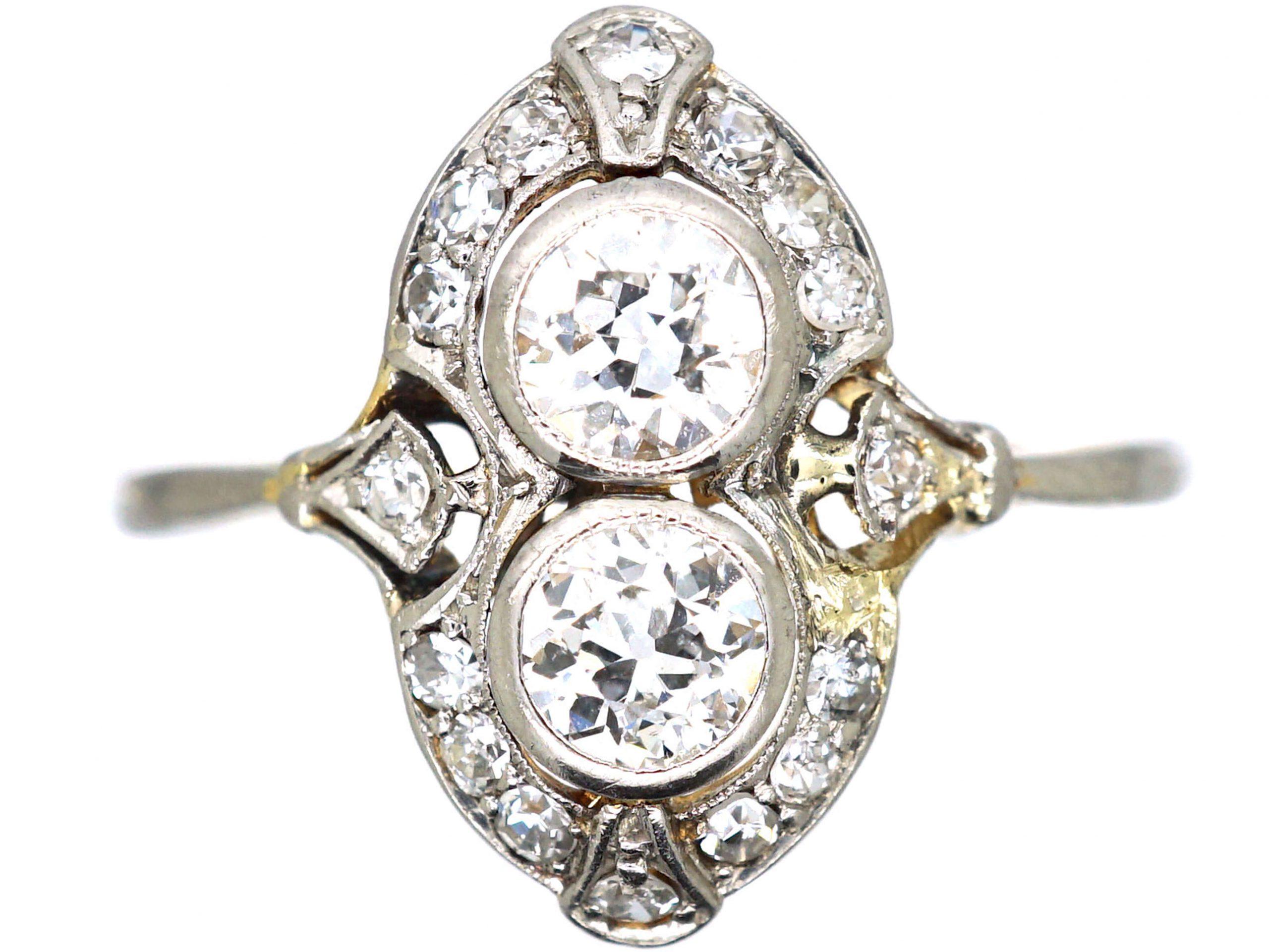 Art Deco 18ct Gold & Platinum, Two Stone Diamond Ornate Ring