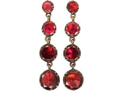 Georgian 9ct Gold Flat Cut Garnet Drop Earrings
