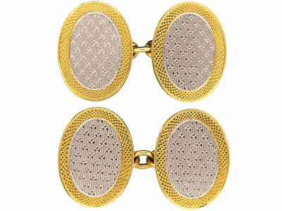 Art Deco 18ct Gold & Platinum Oval Cufflinks with Engine Turned Detail