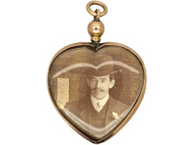 Edwardian 9ct Gold Heart Shaped Glazed Locket