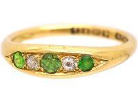Edwardian 18ct Gold, Green Garnet & Diamond Five Stone Ring
