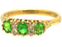 Edwardian 18ct Gold, Green Garnet & Diamond Three Stone Ring