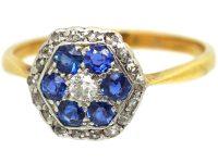 Edwardian 18ct Gold & Platinum, Sapphire & Diamond Hexagonal Cluster Ring