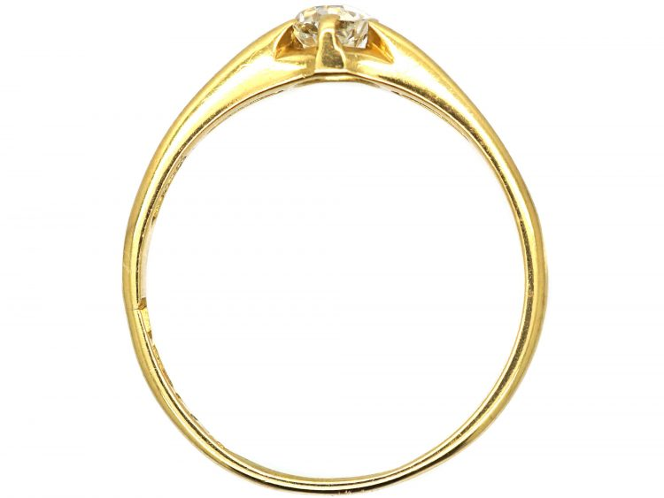 Edwardian 18ct Gold, Diamond Solitaire Ring in Openwork Setting