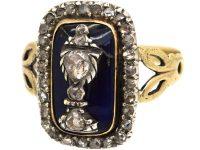 Georgian 15ct Gold & Silver, Rose Diamond & Blue Glass Urn Ring