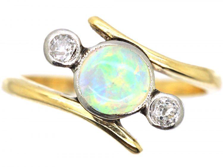 Edwardian 18ct gold & Platinum, Opal & Diamond Three Stone Crossover Ring
