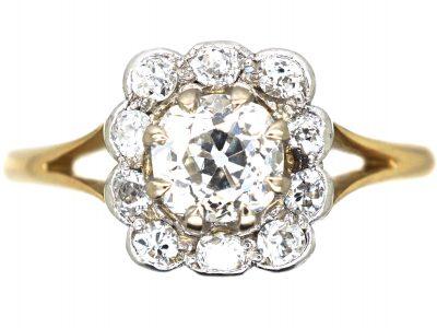 Art Deco 18ct Gold & Platinum, Diamond Square Cluster Ring
