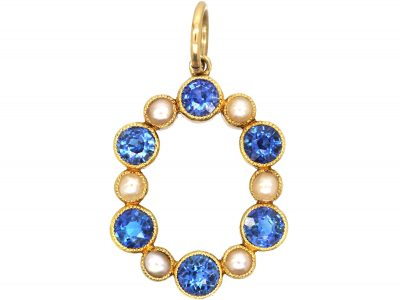 Edwardian Gold, Sapphire and Natural Split Pearl Pendant