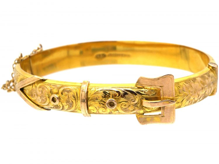 9ct Gold Buckle Bangle with Engraved Flower & Detail Assayed in 1918