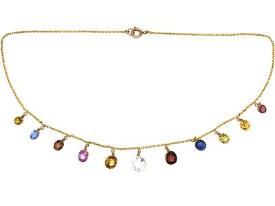 Victorian 15ct Gold Multi-Gem Harlequin Necklace