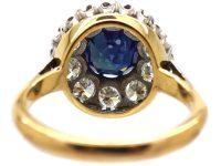 Retro 18ct White & Yellow Gold, Large Sapphire & Diamond Cluster Ring