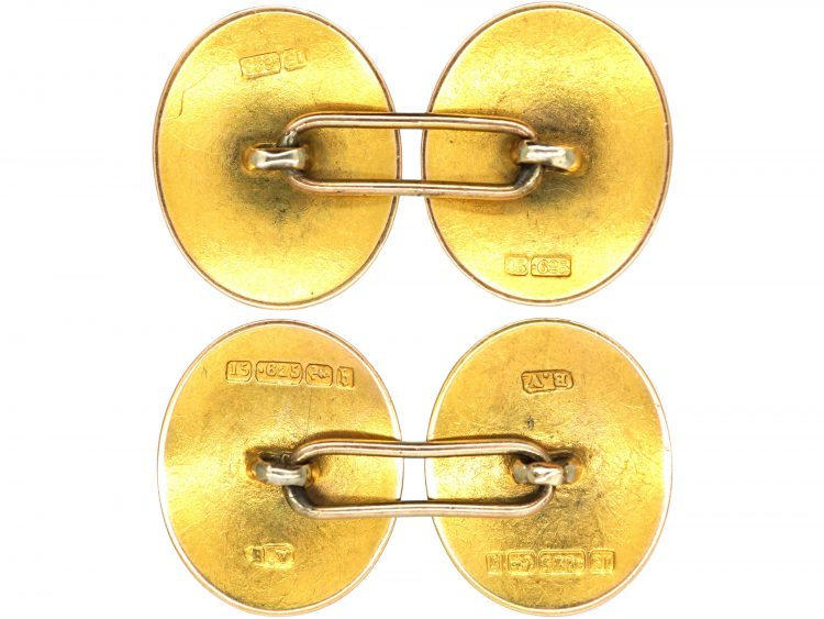 15ct Gold Plain Oval Cufflinks