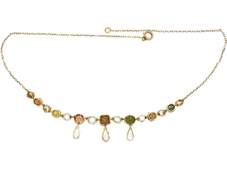 Edwardian 15ct Gold Necklace set with Different Coloured Zircons