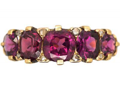 Victorian Five Stone Almandine Garnet & Rose Diamond Ring