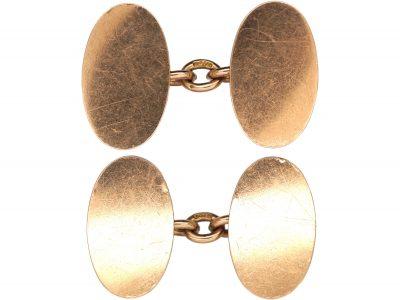 9ct Plain Gold Oval Cufflinks