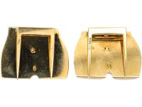 Pair of 14ct Gold and Enamel Retro Novelty Clips of Bottoms