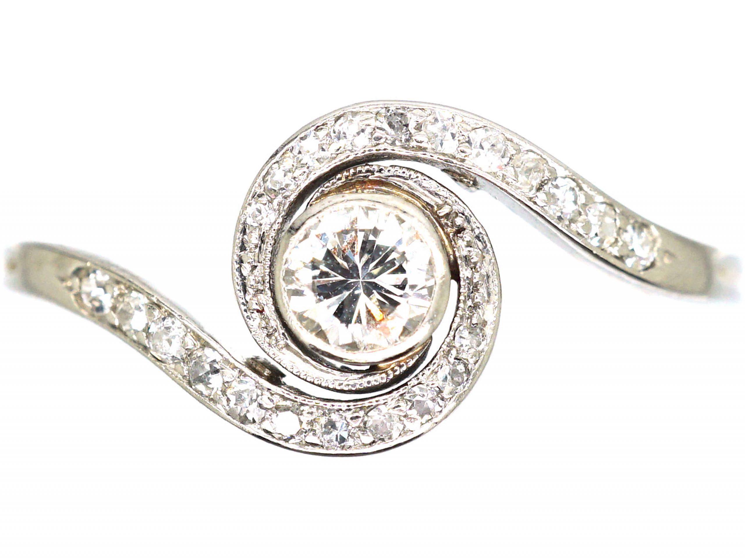Art Deco Platinum & Diamond Catherine Wheel Design Ring