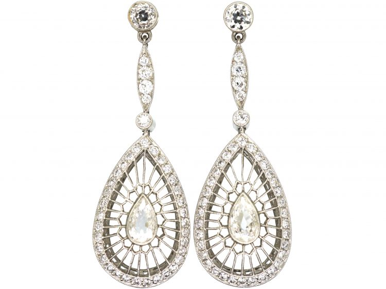 Art Deco Platinum & Diamond Openwork Drop Earrings