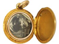 Edwardian 15ct Gold Round Locket set with Turquoise Representing Forget me Not