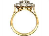 Edwardian 18ct Gold Large Rub Over Set Diamond Daisy Cluster Ring