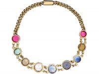 Edwardian 9ct Gold, multi-gem Harlequin Bracelet