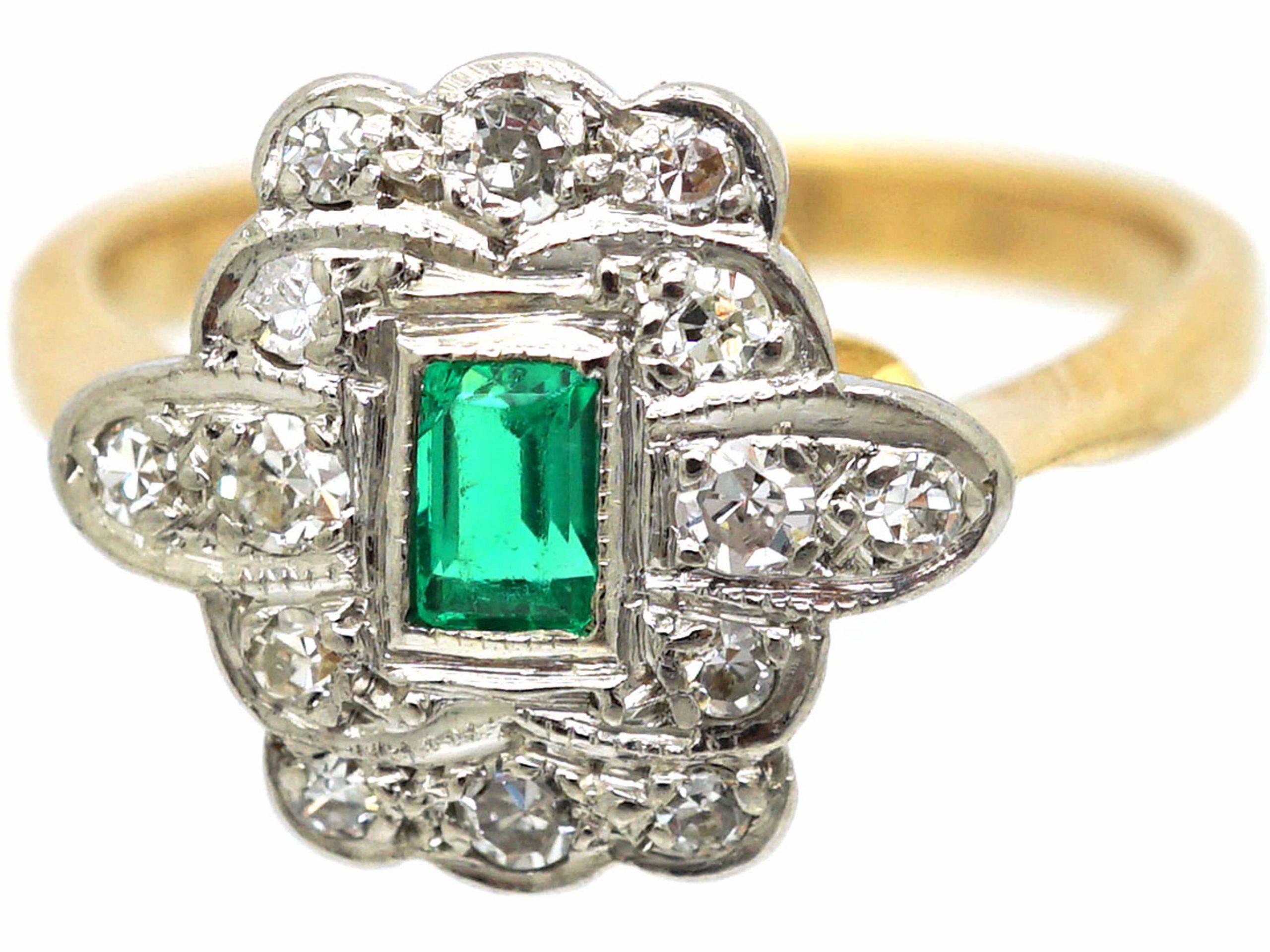 Art Deco 18ct Gold & Platinum, Emerald & Diamond Rectangular Shaped Ring