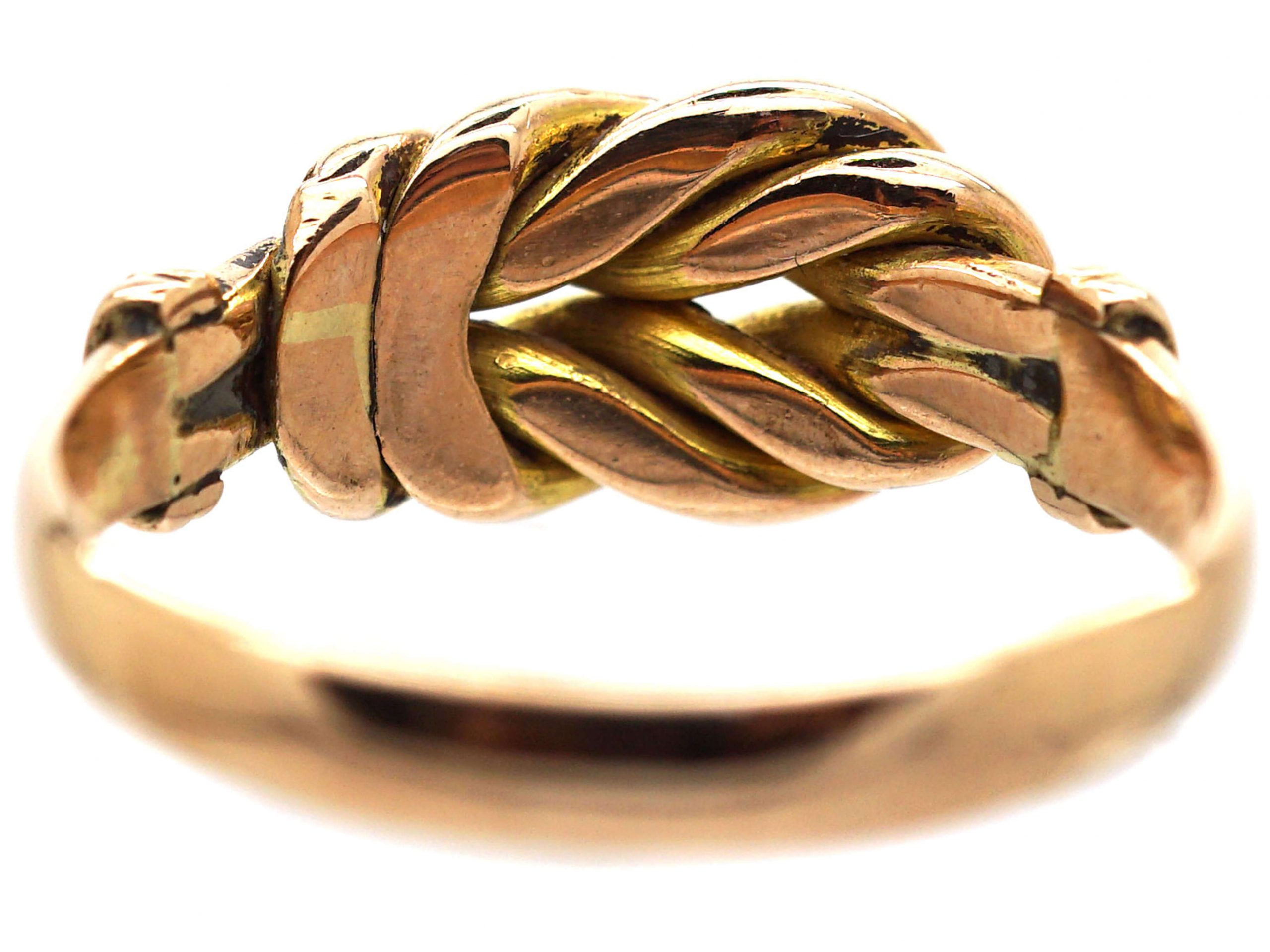 Edwardian 9ct Gold Knot Ring with Plain & Engraved Detail