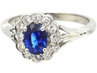 18ct White Gold, Sapphire and Diamond Oval Cluster Ring