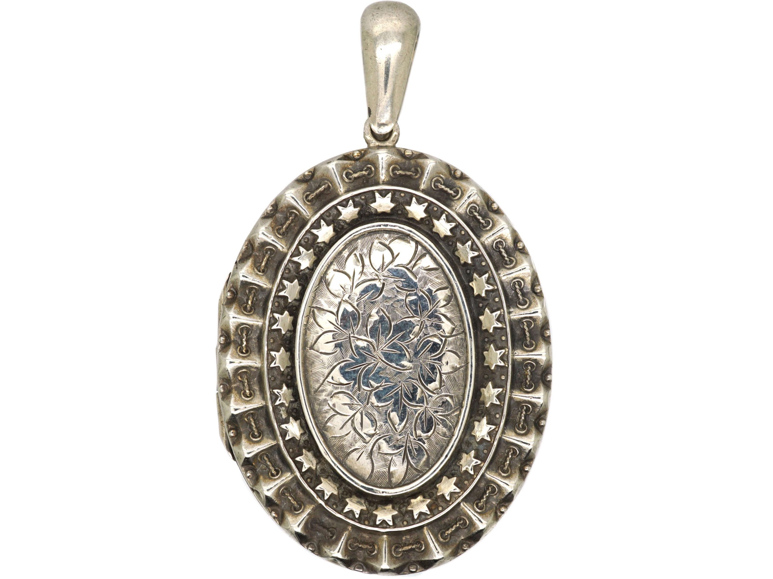 Victorian Oval Silver Locket with Ivy Leaf Detail