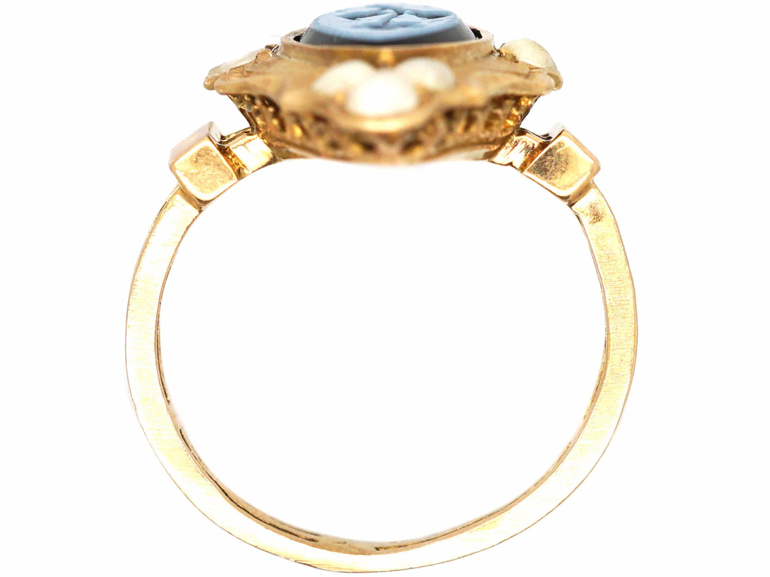 Victorian 18ct Gold Forget Me Not Ring set with Onyx & Natural Split Pearls