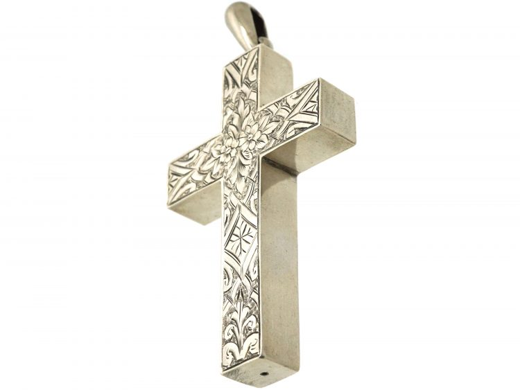 Victorian Silver Cross with Engraved Detail