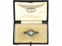 Edwardian Aquamarine & Diamond Brooch in Original Case