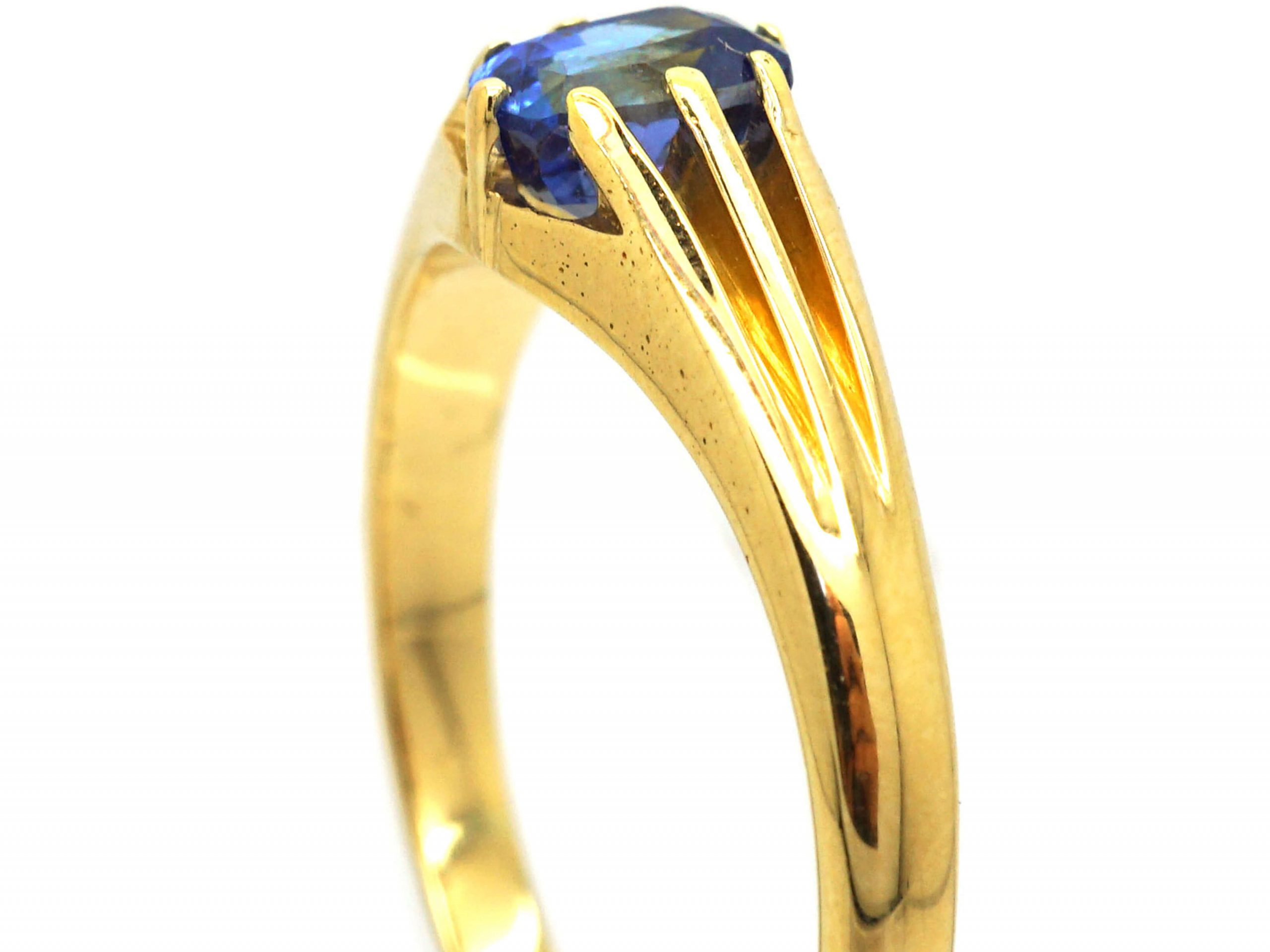 Edwardian 18ct Gold and Sapphire Solitaire Ring