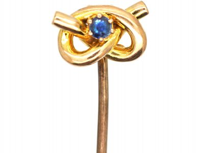 Edwardian 9ct Gold Stafford Knot Tie Pin set with a Sapphire